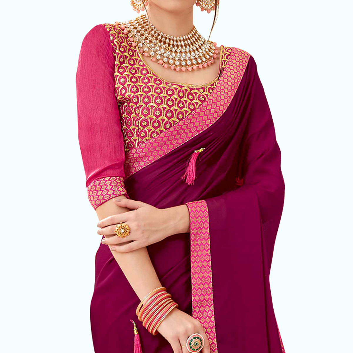Sophisticated Dark Magenta Pink Colored Partywear Georgette Saree