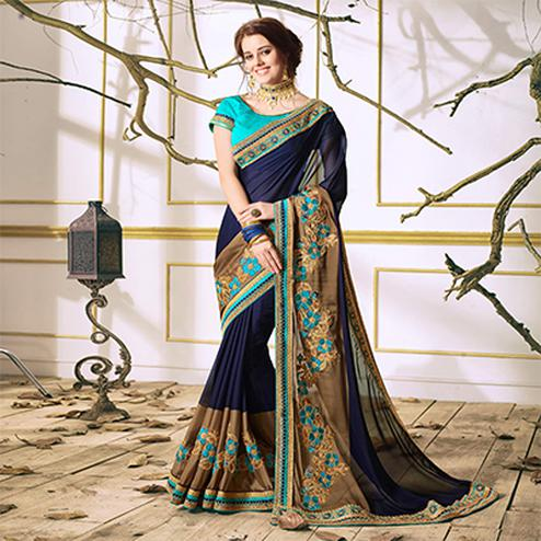 Navy Blue Designer Partywear Embroidered Georgette Saree