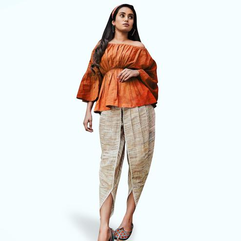 Marvellous Orange-Beige Colored Partywear Banarasi Silk-Khadi Top-Bottom Set
