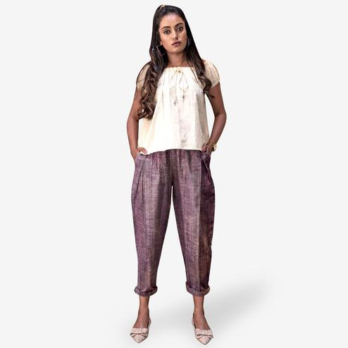 Sensational White-Purple Colored Partywear Khadi Top-Bottom Set