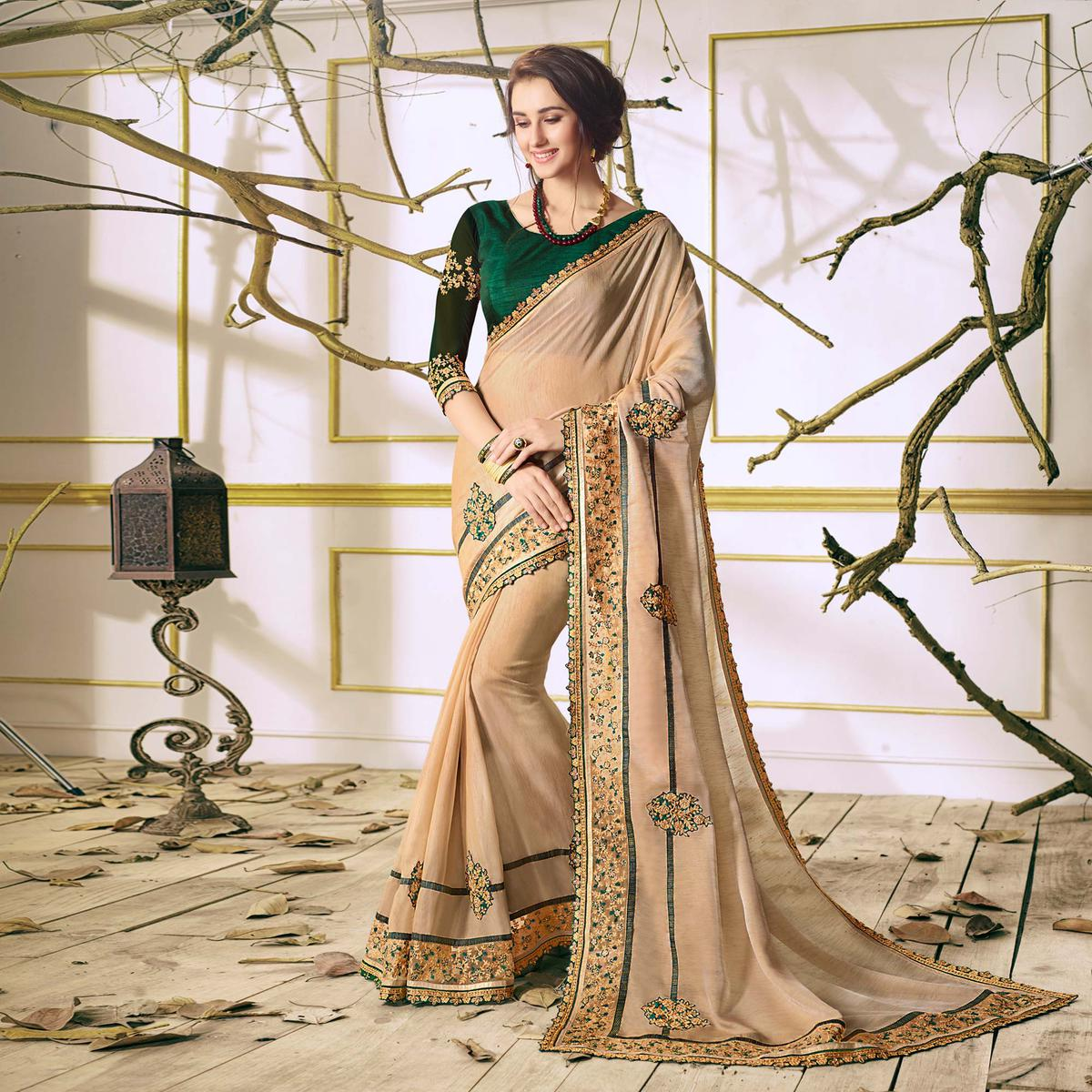 Beige Designer Partywear Embroidered Georgette Saree