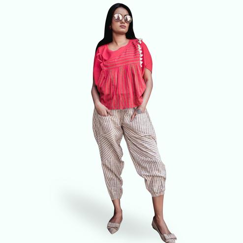 Flirty Coral Red-Beige Colored Partywear Khadi Top-Bottom Set