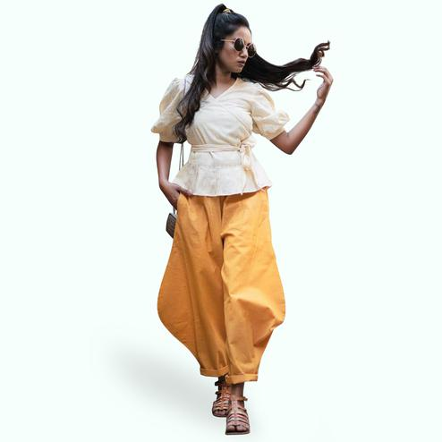 Dazzling Cream-Yellow Colored Partywear Khadi Top-Bottom Set