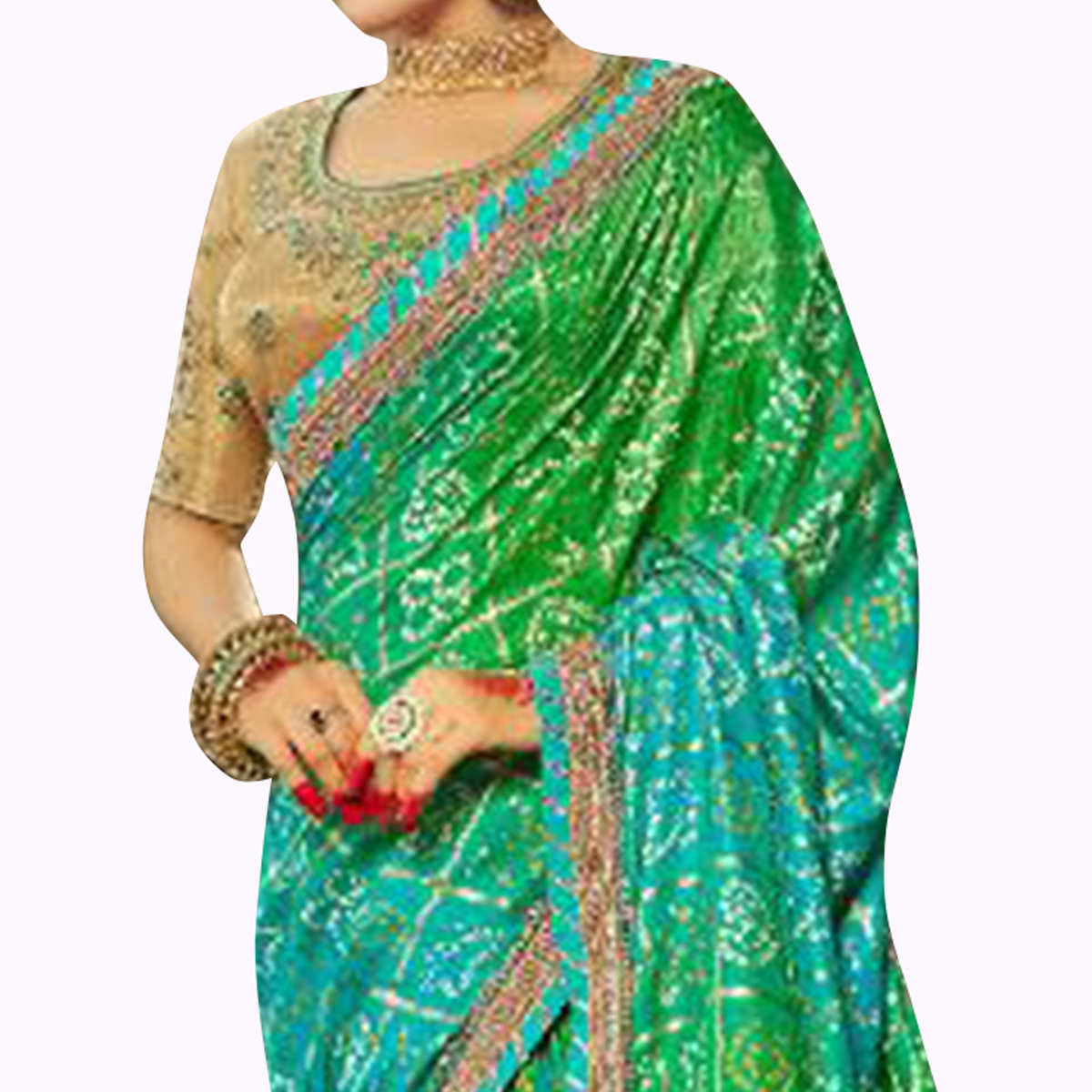 Fantastic Green Colored Partywear Bandhani Printed Art Silk Saree