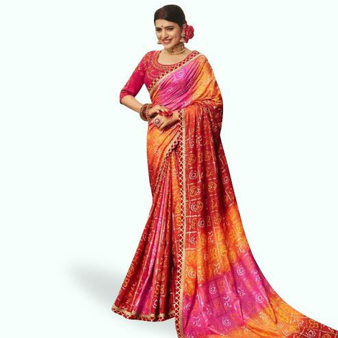 Amazing Multi Colored Partywear Bandhani Printed Art Silk Saree