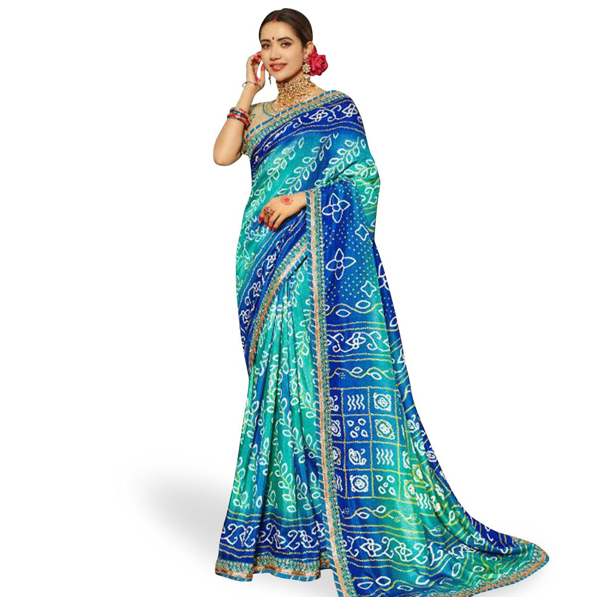 Blissful Blue Colored Partywear Bandhani Printed Art Silk Saree