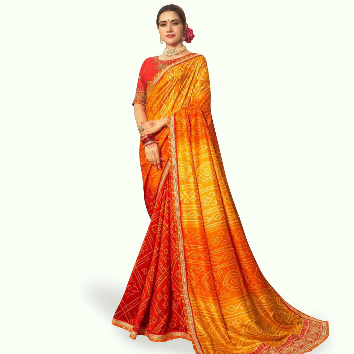 Ideal Yellow-Red Colored Partywear Bandhani Printed Art Silk Saree