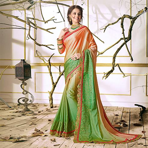 Light Pink-Green Designer Partywear Embroidered Georgette Saree