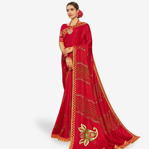 Pleasance Red Colored Partywear Bandhani Printed Art Silk Saree