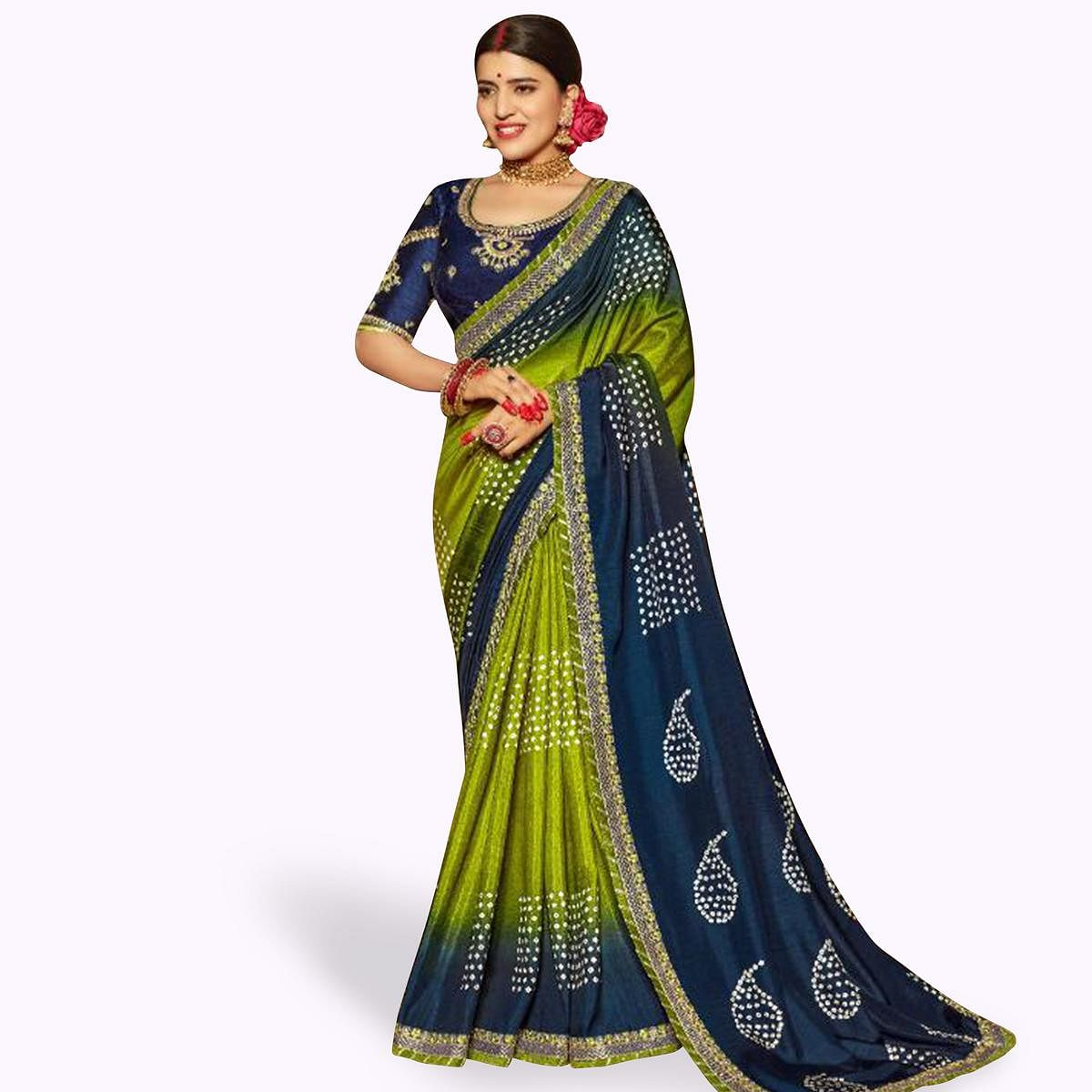 Ethnic Green-Blue Colored Partywear Bandhani Printed Art Silk Saree