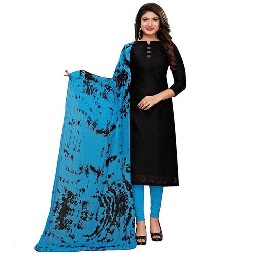 Eye-Catching Black-Blue Colored Casual Printed Cotton Dress Material