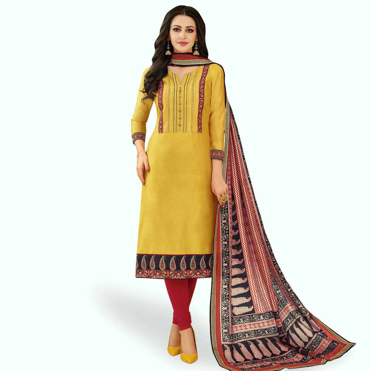 Intricate Yellow Colored Casual Printed Silk Dress Material