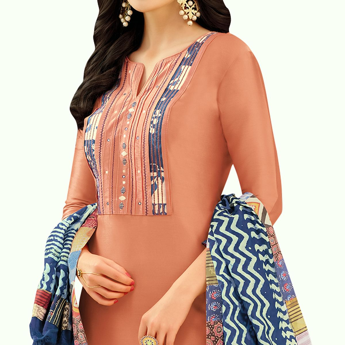 Arresting Peach Colored Casual Printed Silk Dress Material