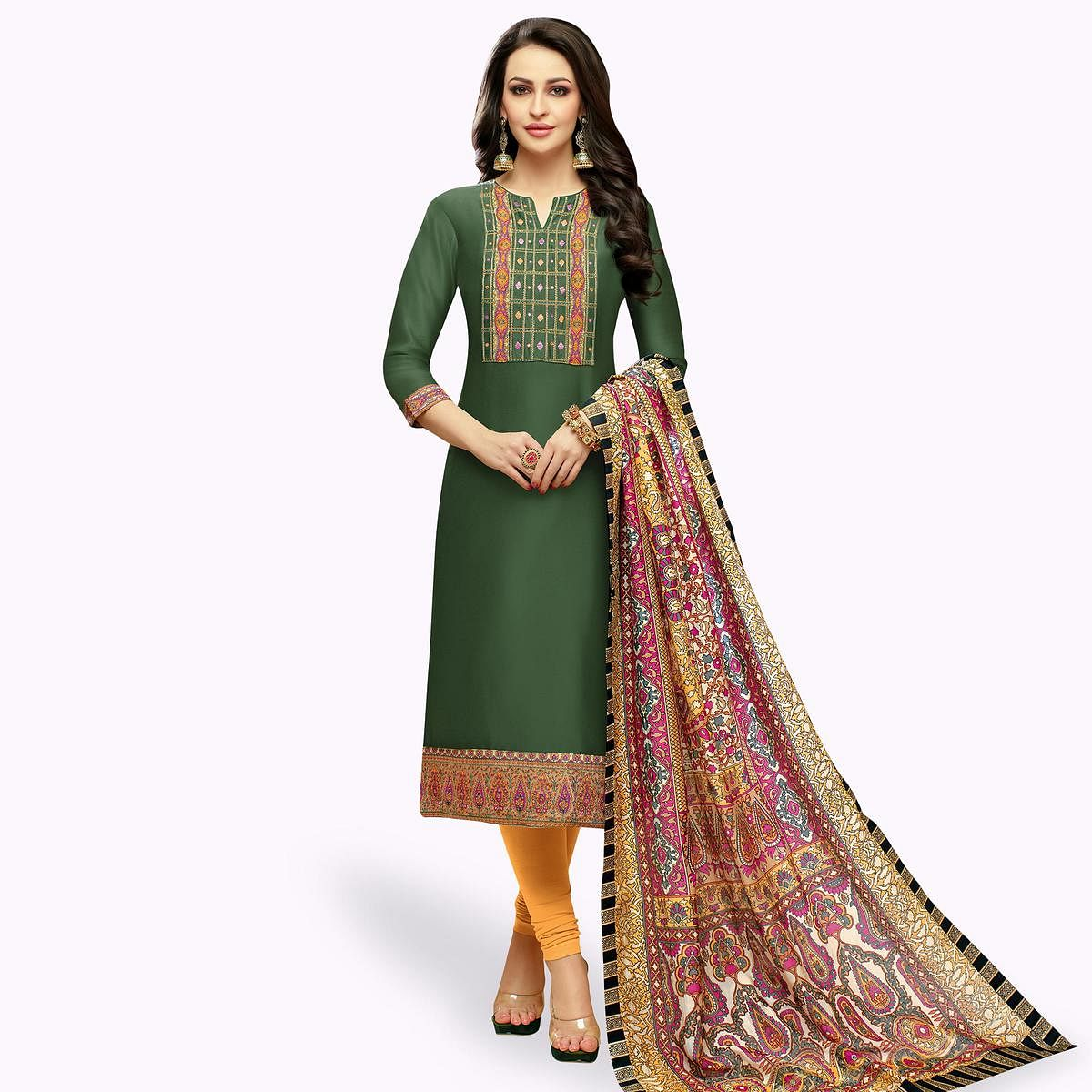 Desirable Green Colored Casual Printed Silk Dress Material