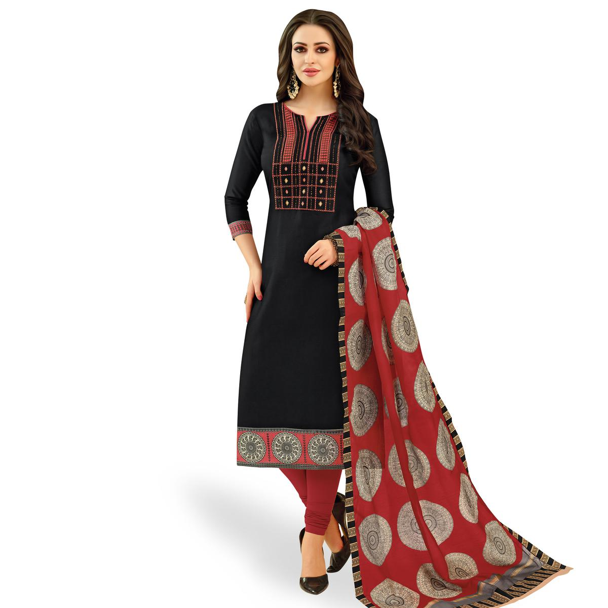 Sophisticated Black Colored Casual Printed Silk Dress Material