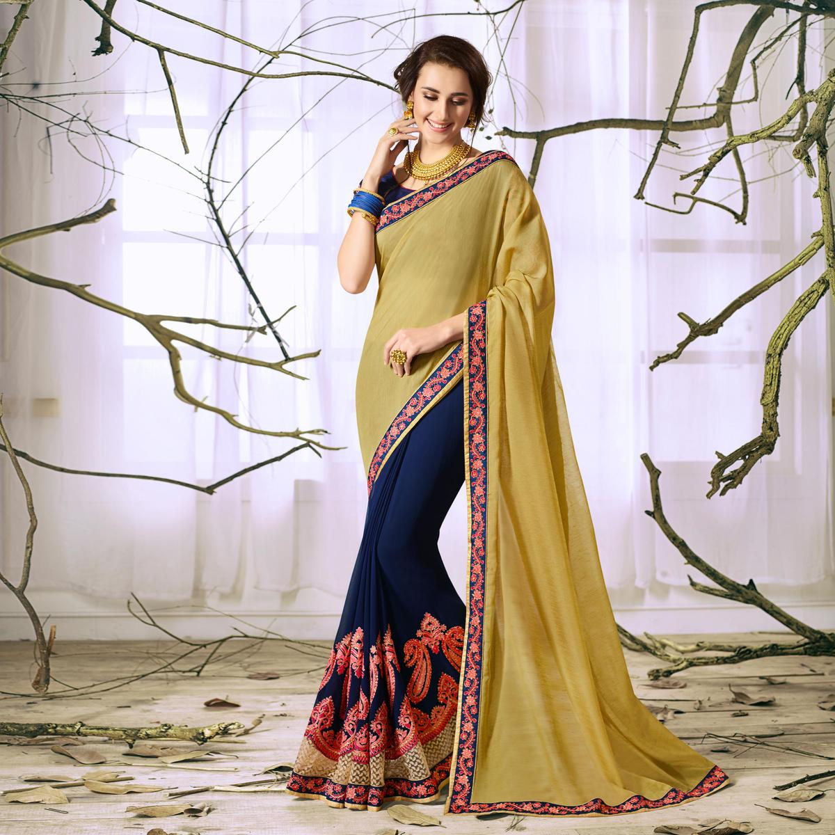 Yellow-Blue Designer Partywear Embroidered Georgette Saree