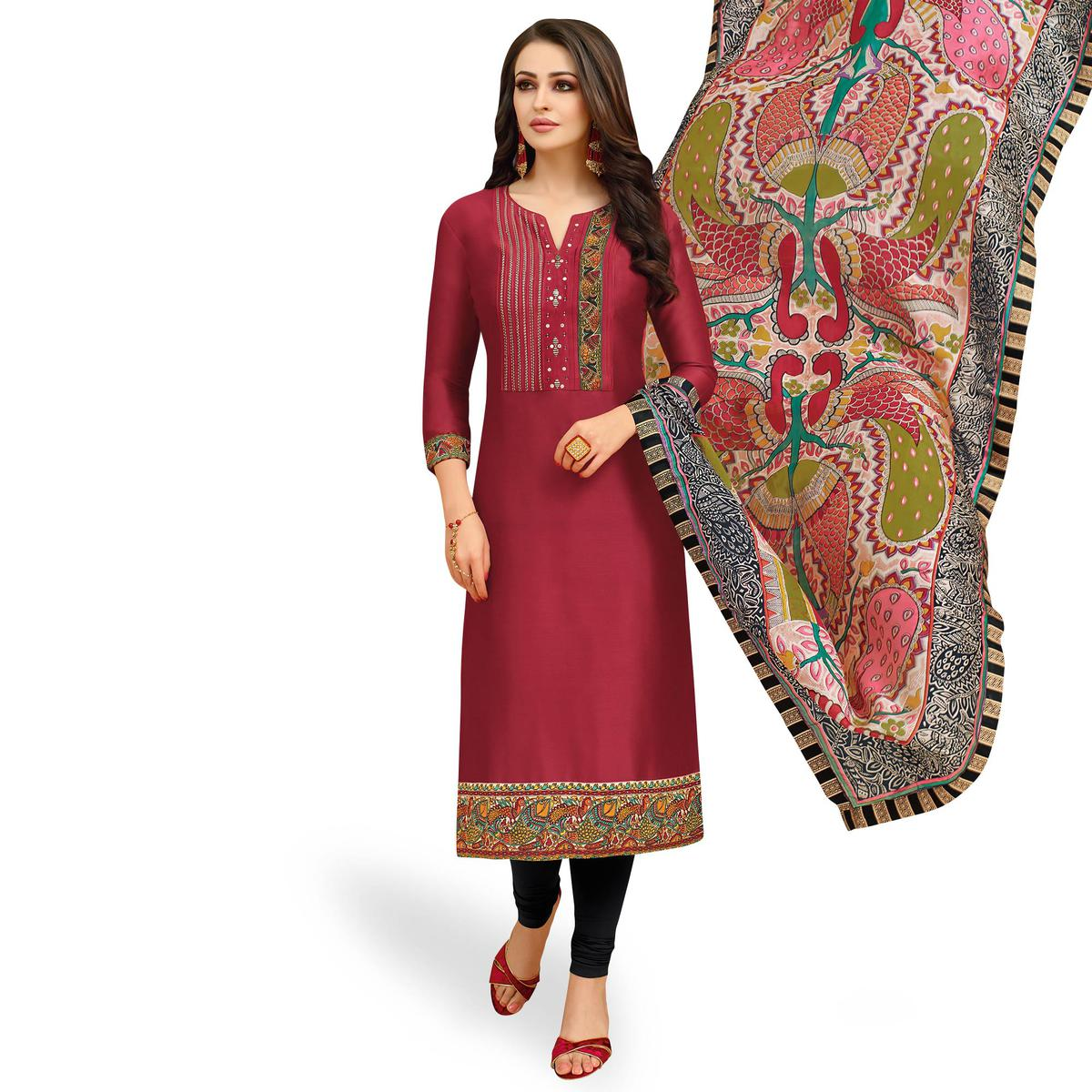 Trendy Red Colored Casual Printed Silk Dress Material