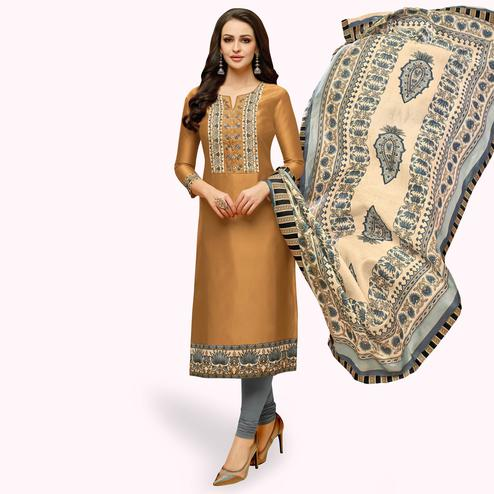 Radiant Beige Colored Casual Printed Silk Dress Material