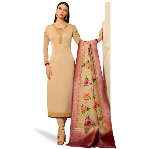 Radiant Beige Colored Partywear Embroidered Satin Georgette Salwar Suit With Banarasi Dupatta