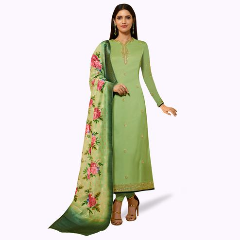 Pleasant Green Colored Partywear Embroidered Satin Georgette Salwar Suit With Banarasi Dupatta