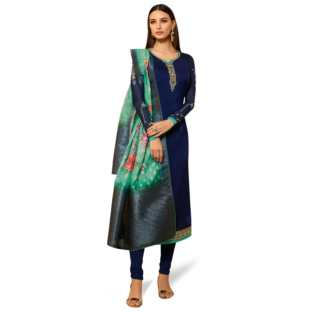Opulent Blue Colored Partywear Embroidered Satin Georgette Salwar Suit With Banarasi Dupatta