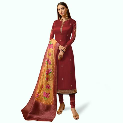Energetic Red Colored Partywear Embroidered Satin Georgette Salwar Suit With Banarasi Dupatta