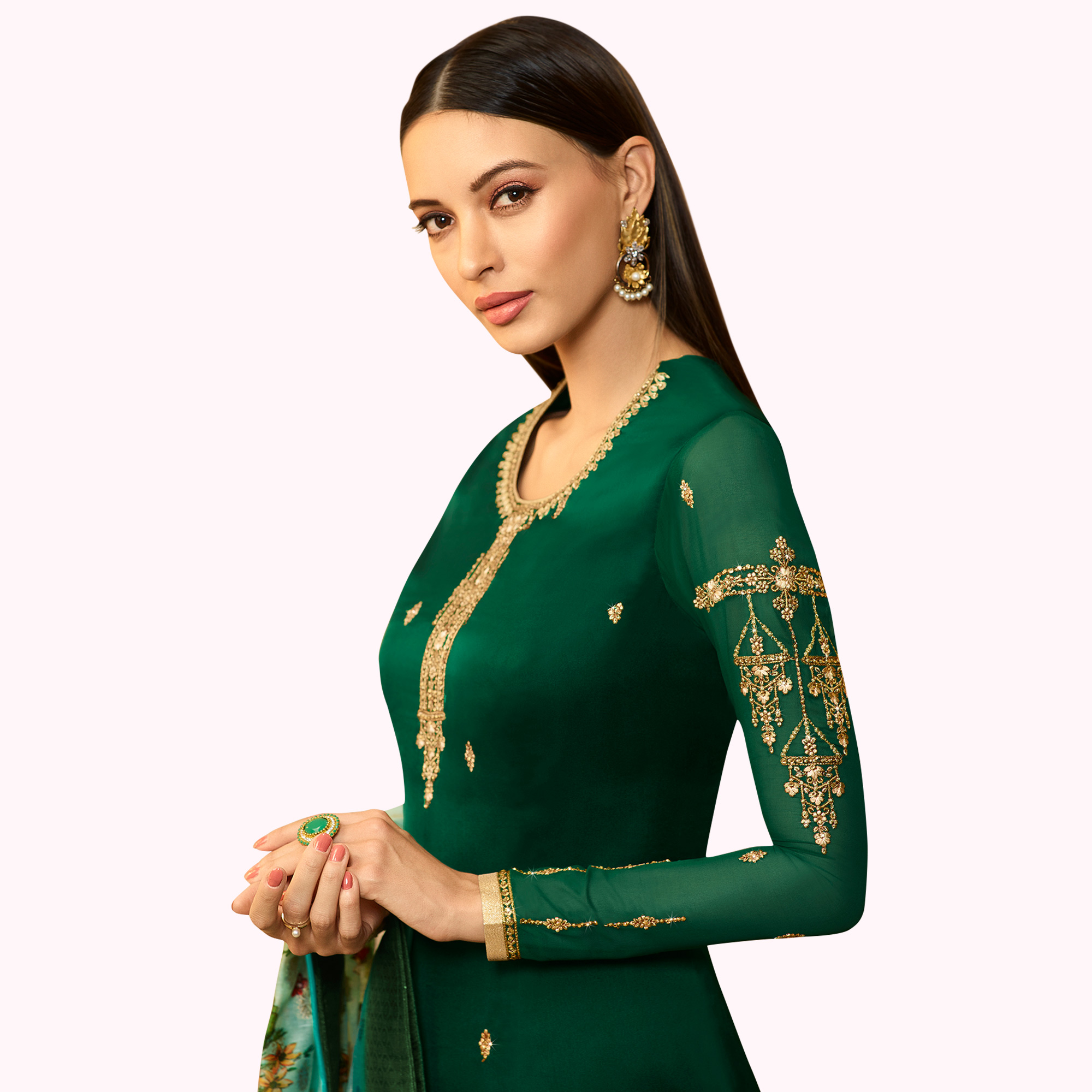 Glowing Dark Green Colored Partywear Embroidered Satin Georgette Salwar Suit With Banarasi Dupatta
