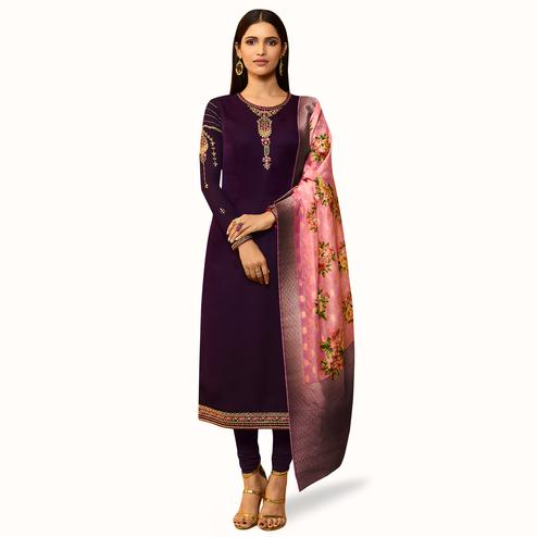 Jazzy Dark Purple Colored Partywear Embroidered Satin Georgette Salwar Suit With Banarasi Dupatta
