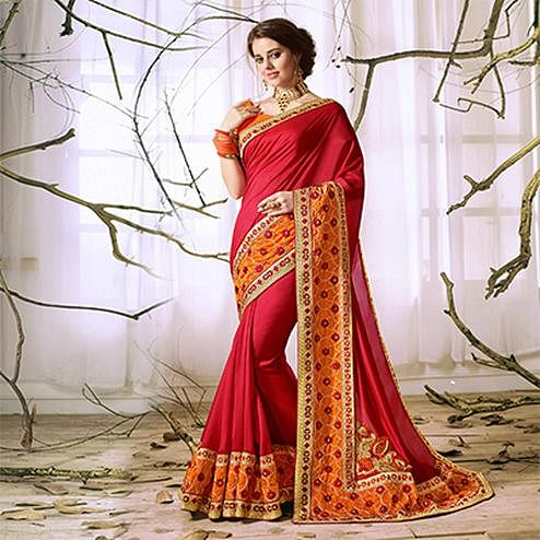 Red Designer Partywear Embroidered Georgette Saree