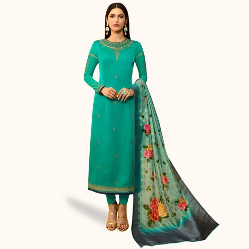 Classy Aqua Blue Colored Partywear Embroidered Satin Georgette Salwar Suit With Banarasi Dupatta