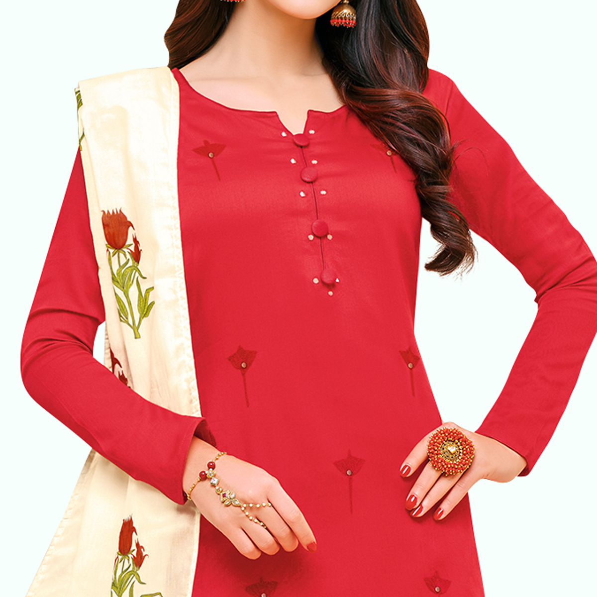 Imposing Red Colored Partywear Embroidered Pure Cotton Palazzo Suit