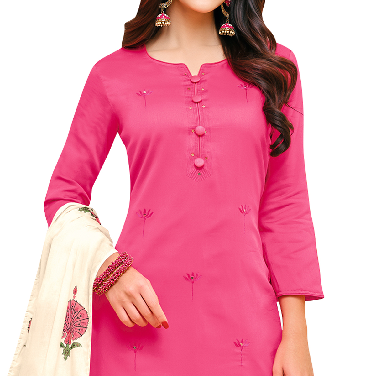 Majesty Pink Colored Partywear Embroidered Pure Cotton Palazzo Suit