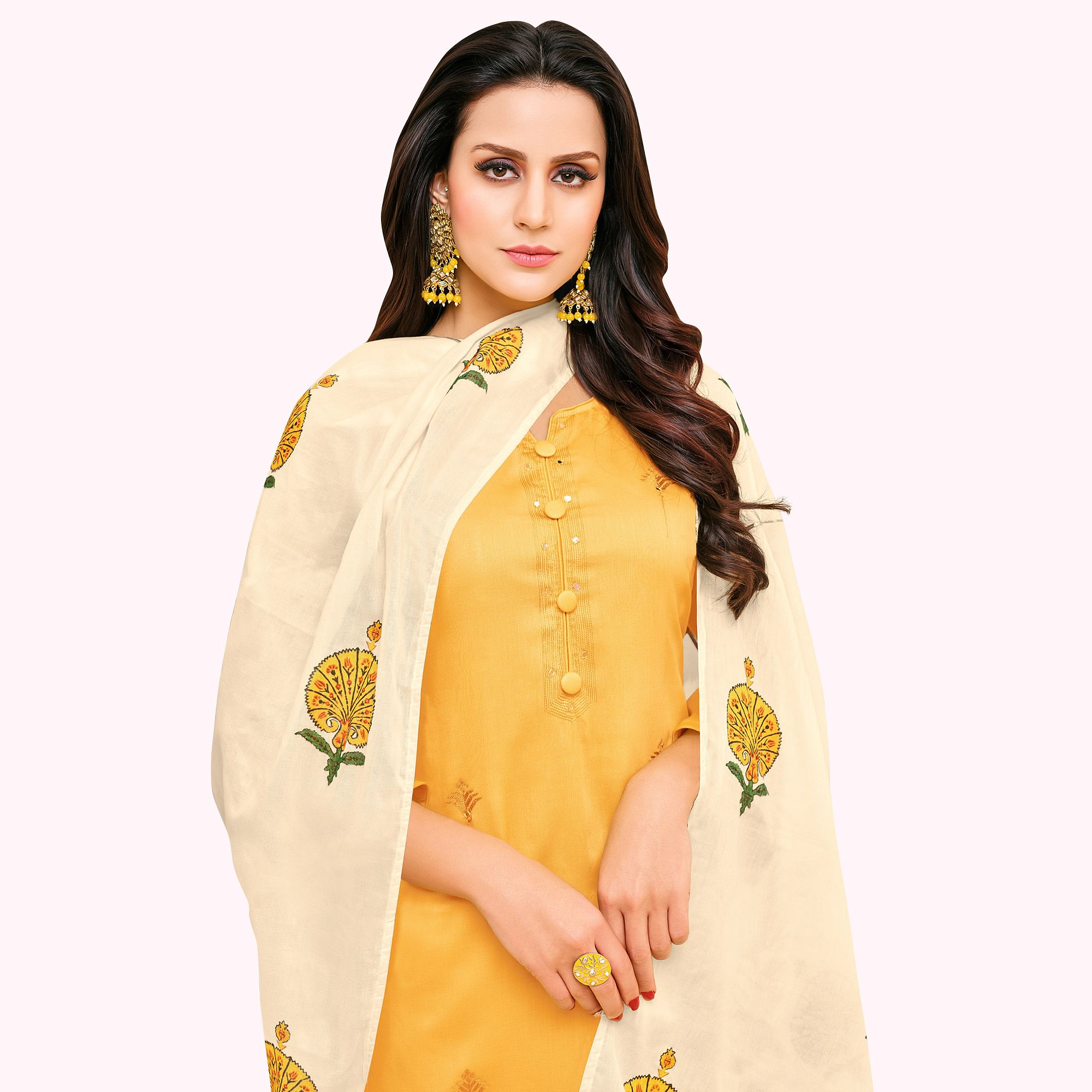 Impressive Yellow Colored Partywear Embroidered Pure Cotton Palazzo Suit