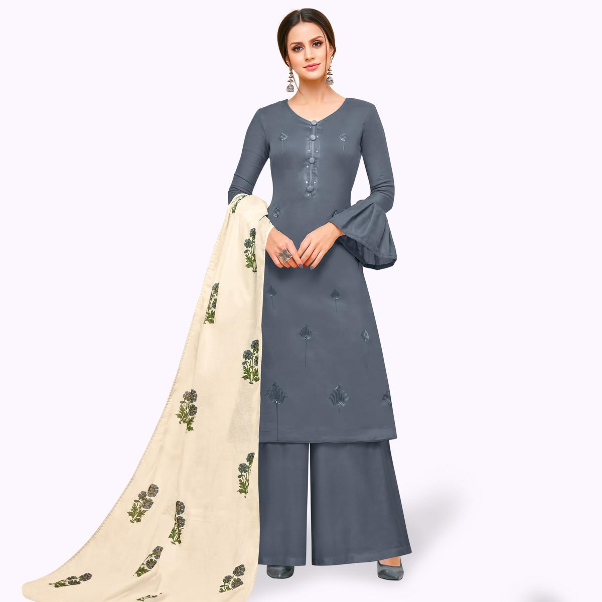 Mesmerising Gray Colored Partywear Embroidered Pure Cotton Palazzo Suit