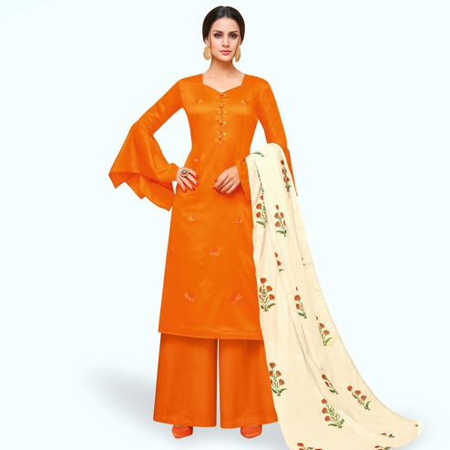 Pleasance Orange Colored Partywear Embroidered Pure Cotton Palazzo Suit