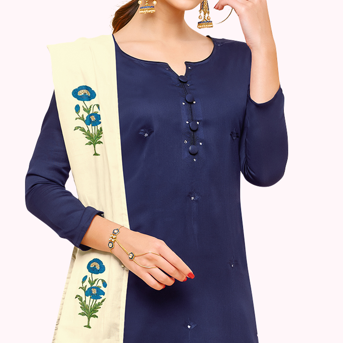 Breathtaking Navy Blue Colored Partywear Embroidered Pure Cotton Palazzo Suit