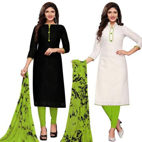 Beautiful Black-White Colored Casual Printed Cotton Dress Material With 2 Tops & 1 Bottom Dupatta