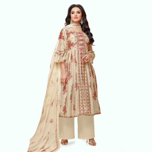 Radiant Cream Colored Partywear Embroidered Pure Cotton Palazzo Suit