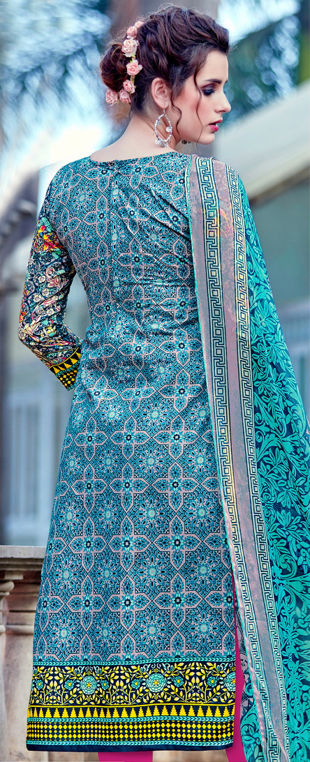 Blue - Pink Cambric Cotton Casual Wear Suit