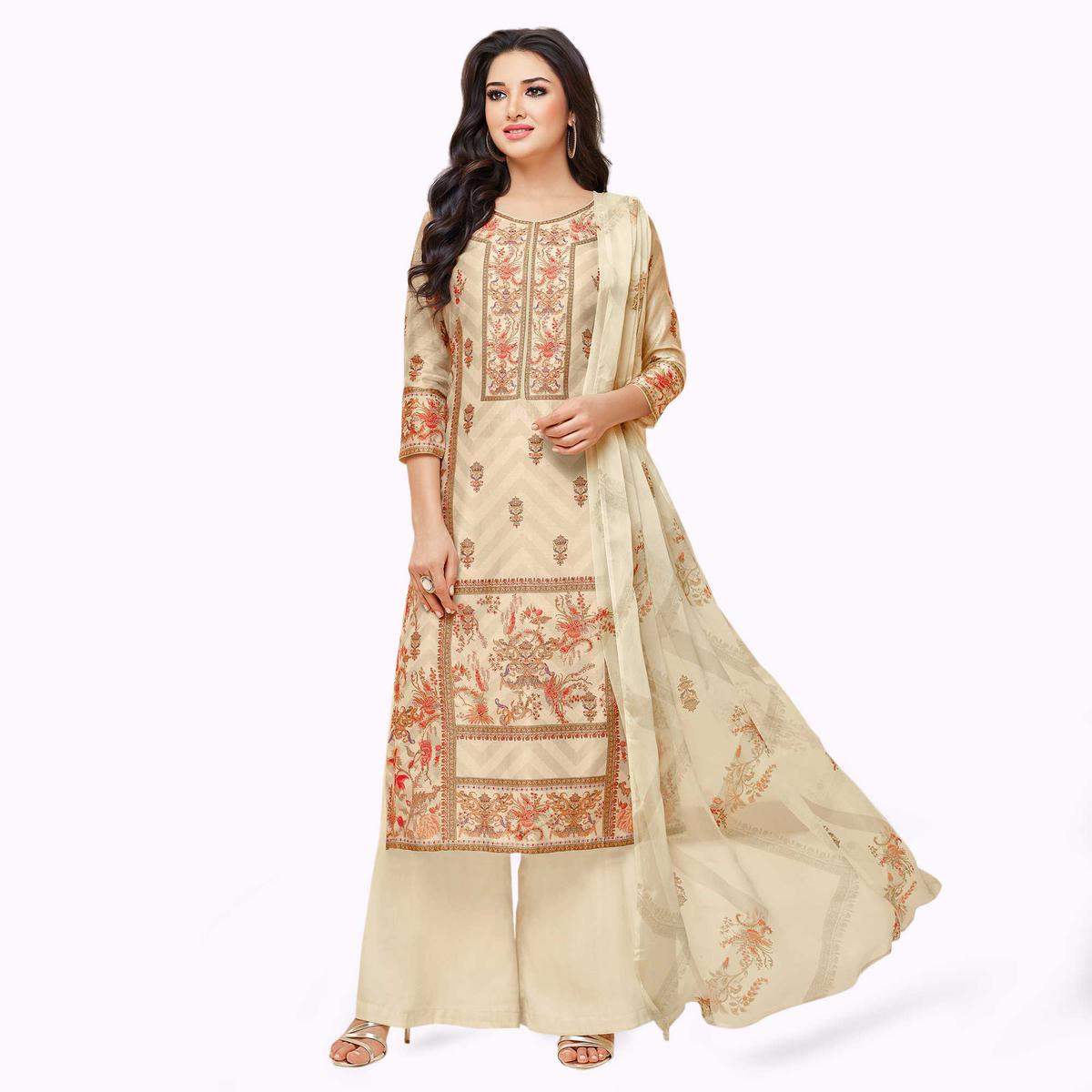 Pleasant Cream Colored Partywear Embroidered Pure Cotton Palazzo Suit