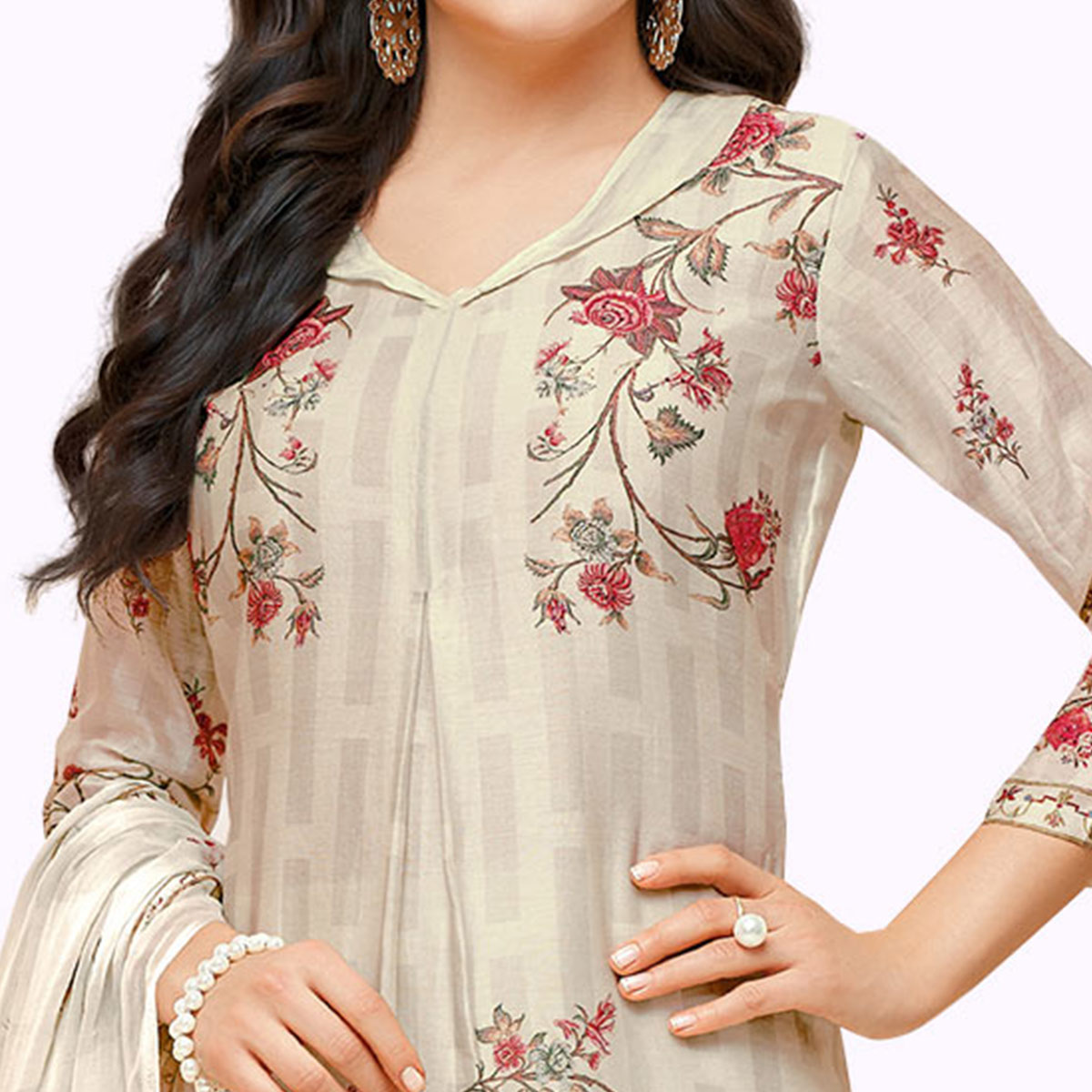 Opulent Off-White Colored Partywear Embroidered Pure Cotton Palazzo Suit
