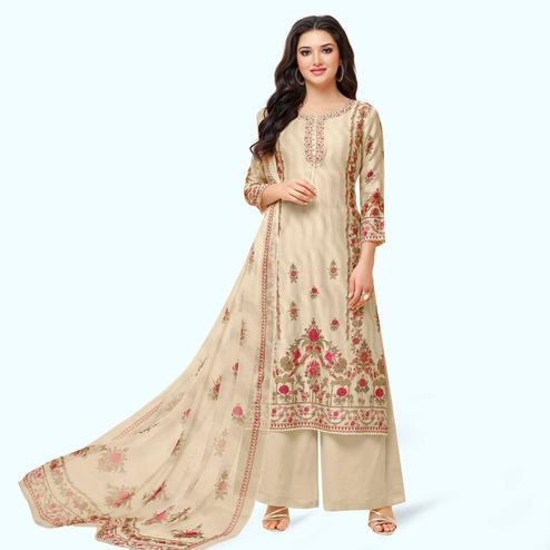 Energetic Cream Colored Partywear Embroidered Pure Cotton Palazzo Suit
