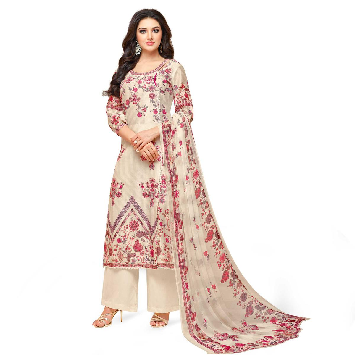 Glowing Cream Colored Partywear Embroidered Pure Cotton Palazzo Suit