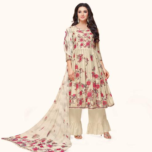 Exceptional Cream Colored Partywear Embroidered Pure Cotton Palazzo Suit