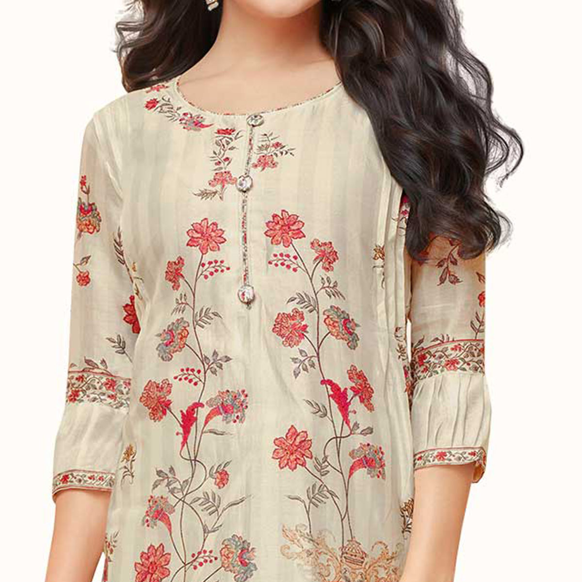 Gleaming Cream Colored Partywear Embroidered Pure Cotton Suit