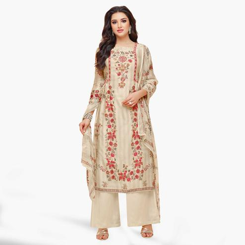 Mesmeric Cream Colored Partywear Embroidered Pure Cotton Palazzo Suit