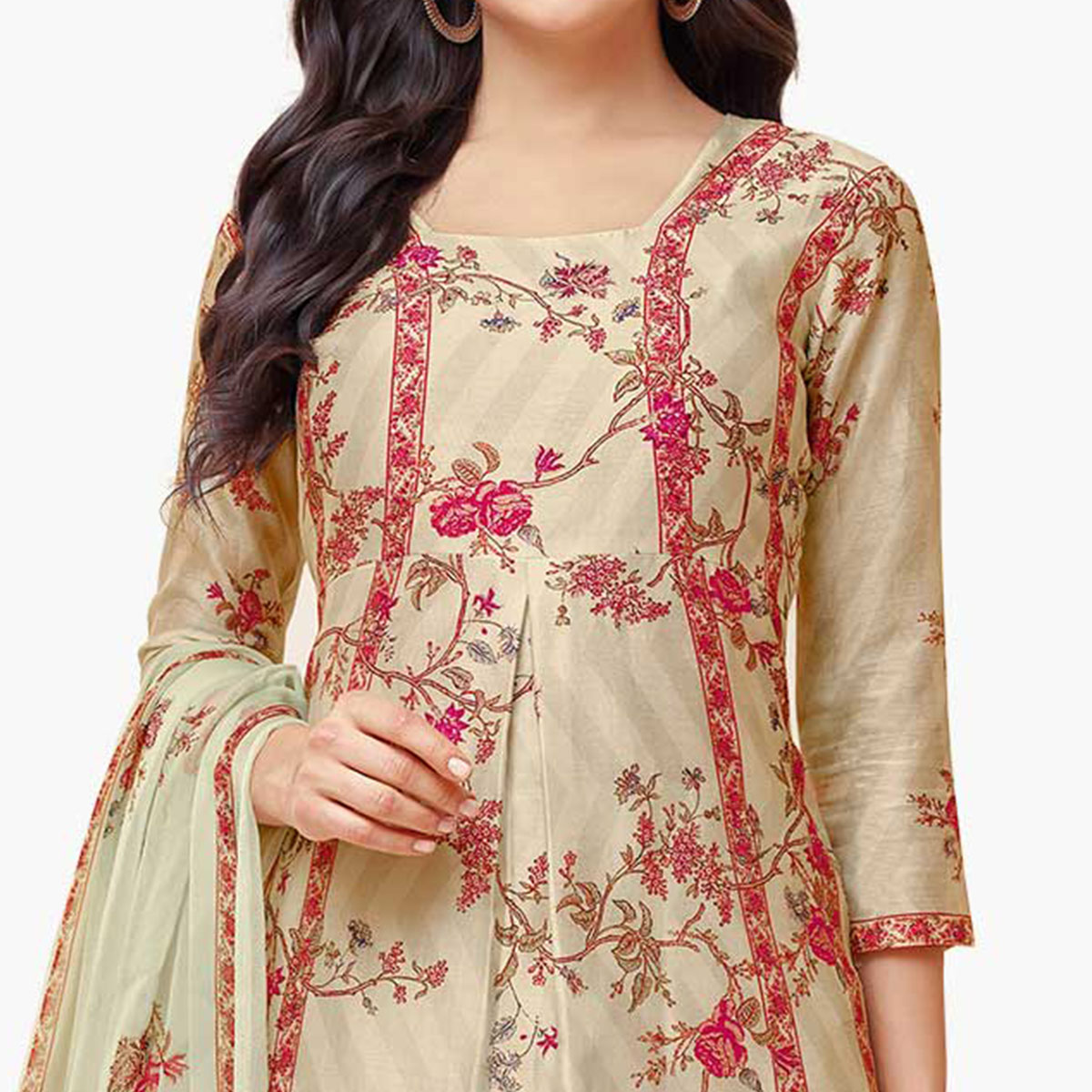 Unique Cream Colored Partywear Embroidered Pure Cotton Palazzo Suit