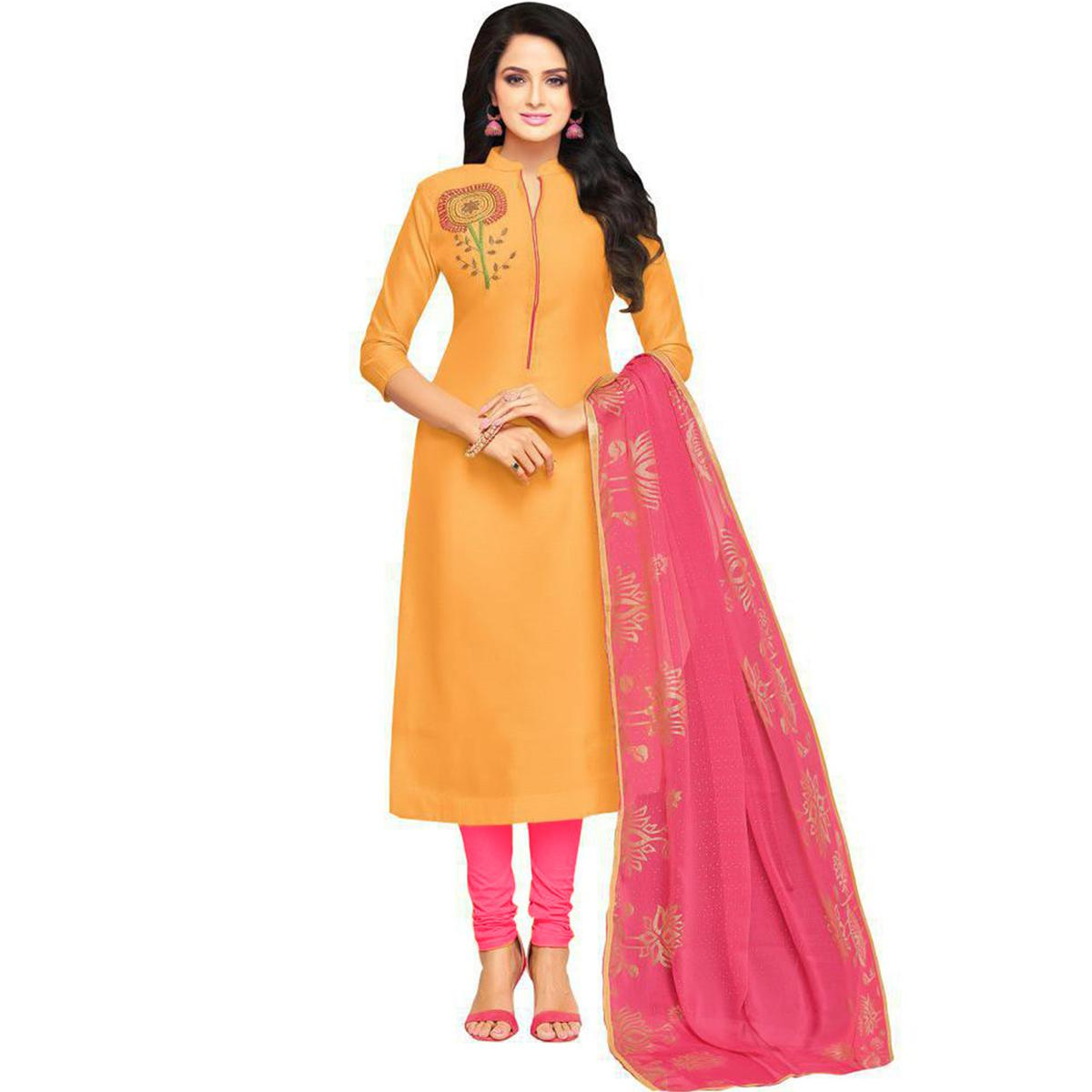 Refreshing Yellow Colored Partywear Embroidered Chanderi Silk Dress Material