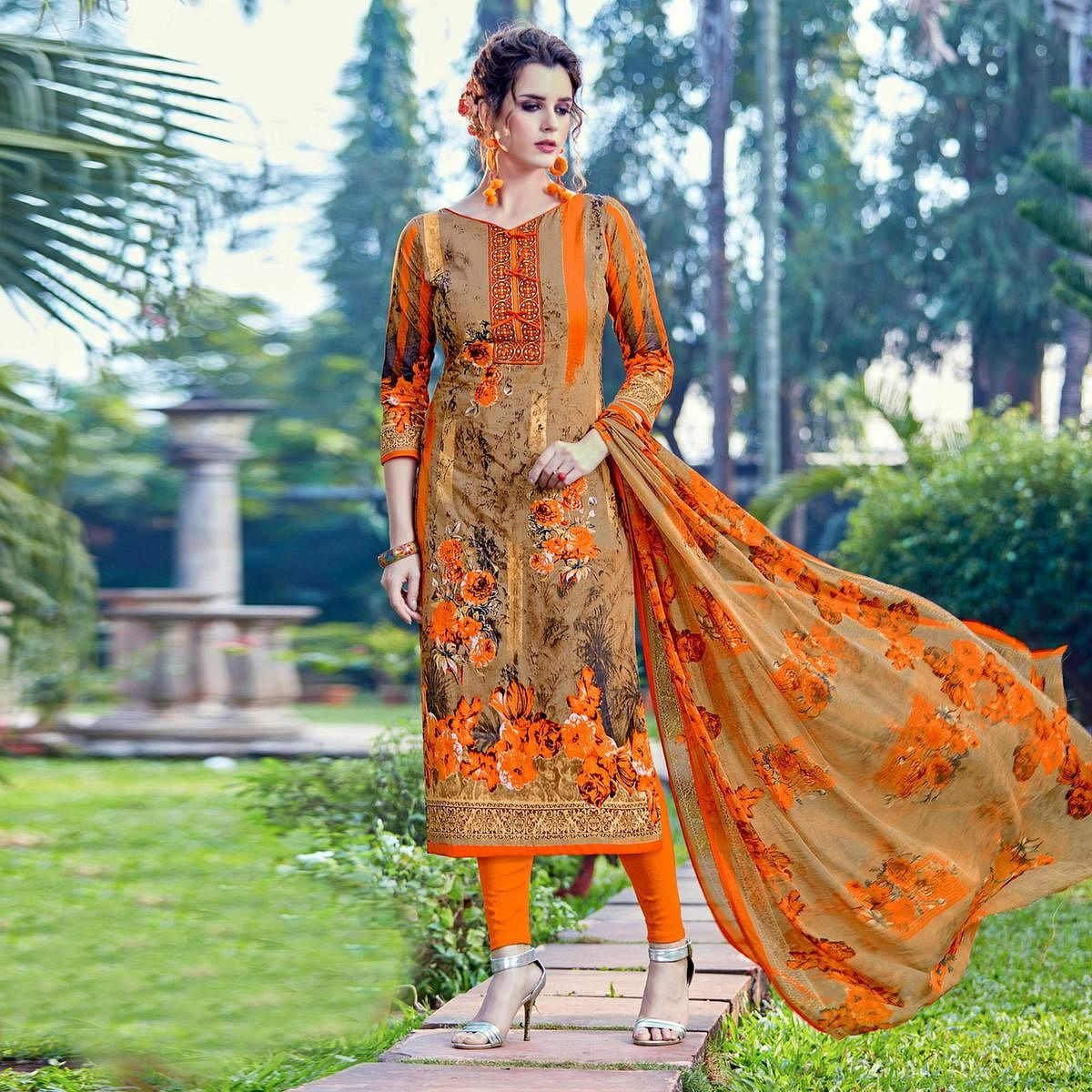 Orange Cambric Cottom Casual Wear Printed Suit
