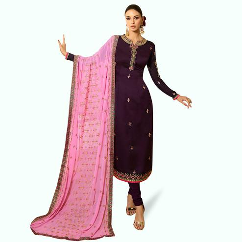 Classy Dark Purple Colored Partywear Embroidered Satin Georgette Salwar Suit